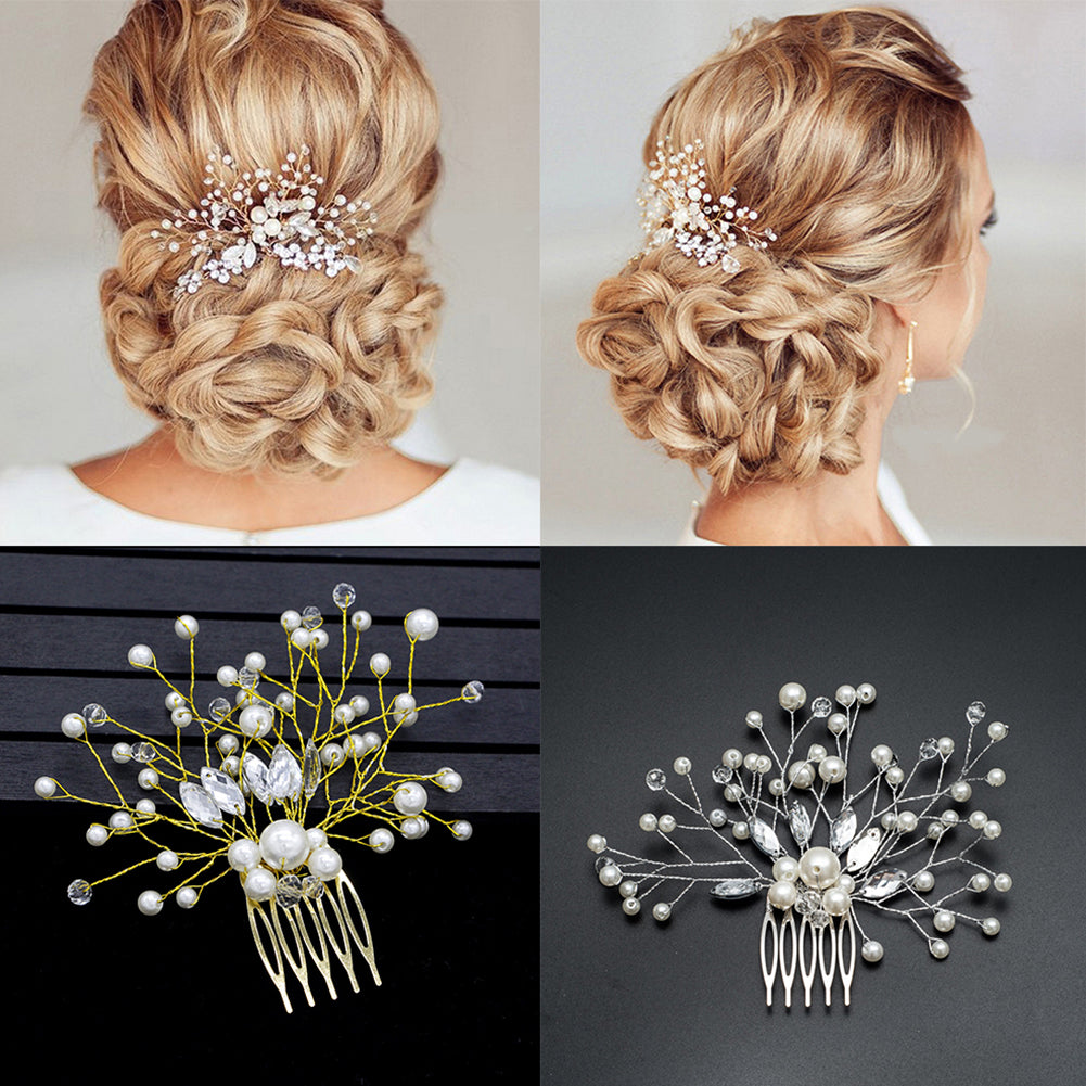 Wedding Bridal Bridesmaid Faux Pearls Hair Pins Clips Rhinestone Comb Headwear