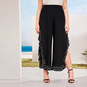 Plus Elastic Waist Polka Dot Panel Slit Pants From United States