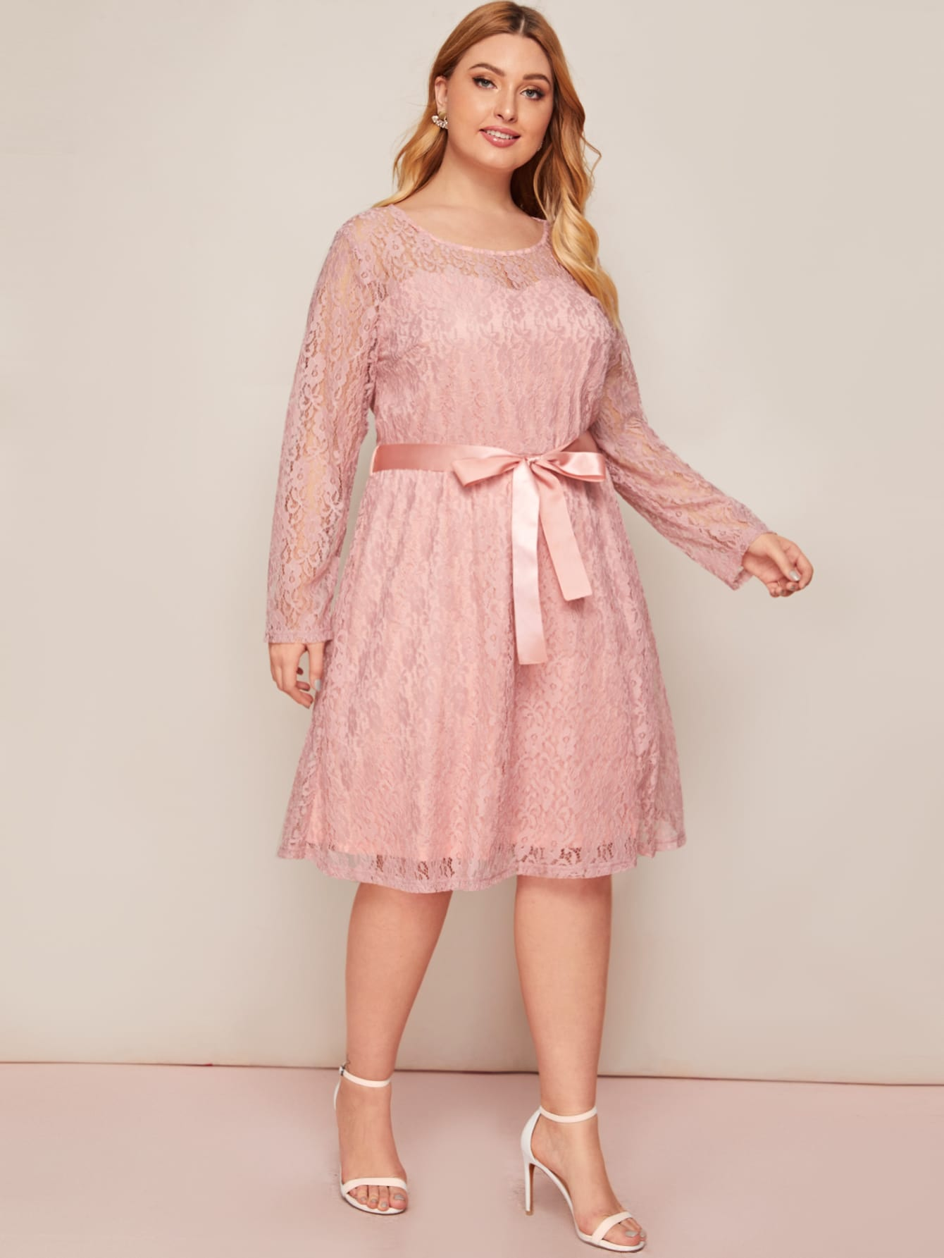 Plus Belted Lace Overlay A-line Dress