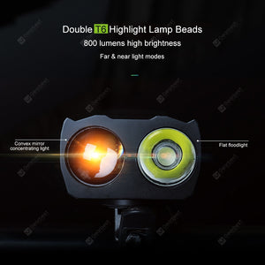 USB Rechargeable LED Bicycle Headlight with Horn Smart Sensor High Brightness Flashlight Multifunctional
