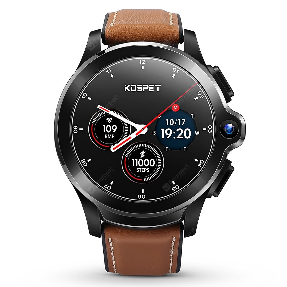 KOSPET Prime Face ID Dual Cameras 4G Smartwatch 1260mAh Battery 1.6 inch IPS Screen Android 3GB RAM 32GB ROM Healthcare Sports Smart Watch for Men