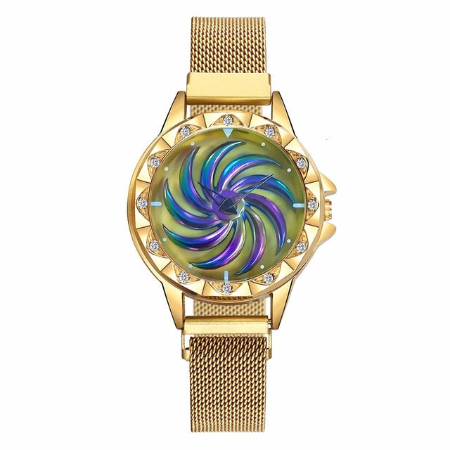 Women Magnet Buckle Rotating Watch