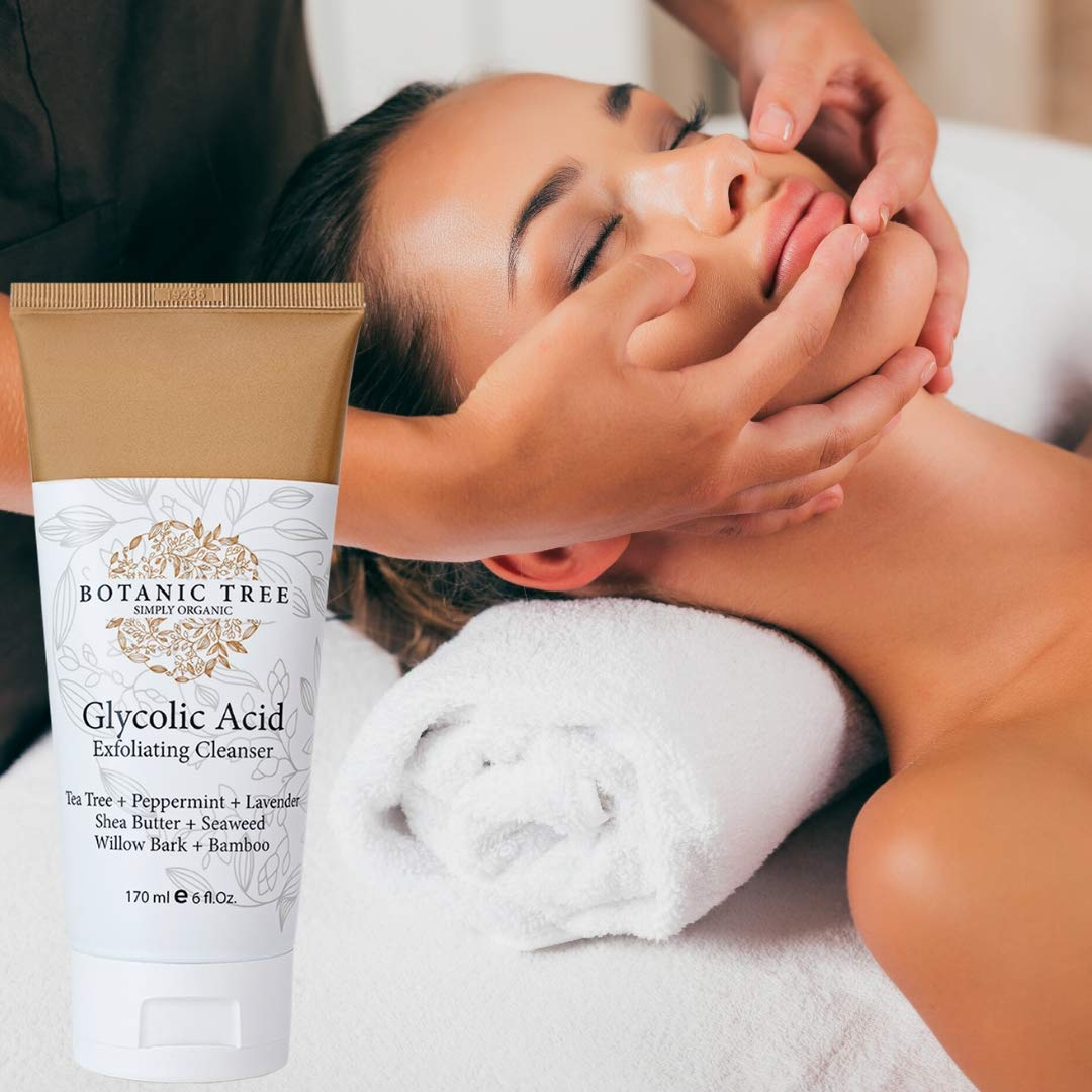 Glycolic Acid Face Wash Exfoliating Cleanser 6Oz w/10% Glycolic Acid- AHA For Wrinkles and Lines Reduction-Acne Face Wash For a Deep Clean-100% Organic Extracts.