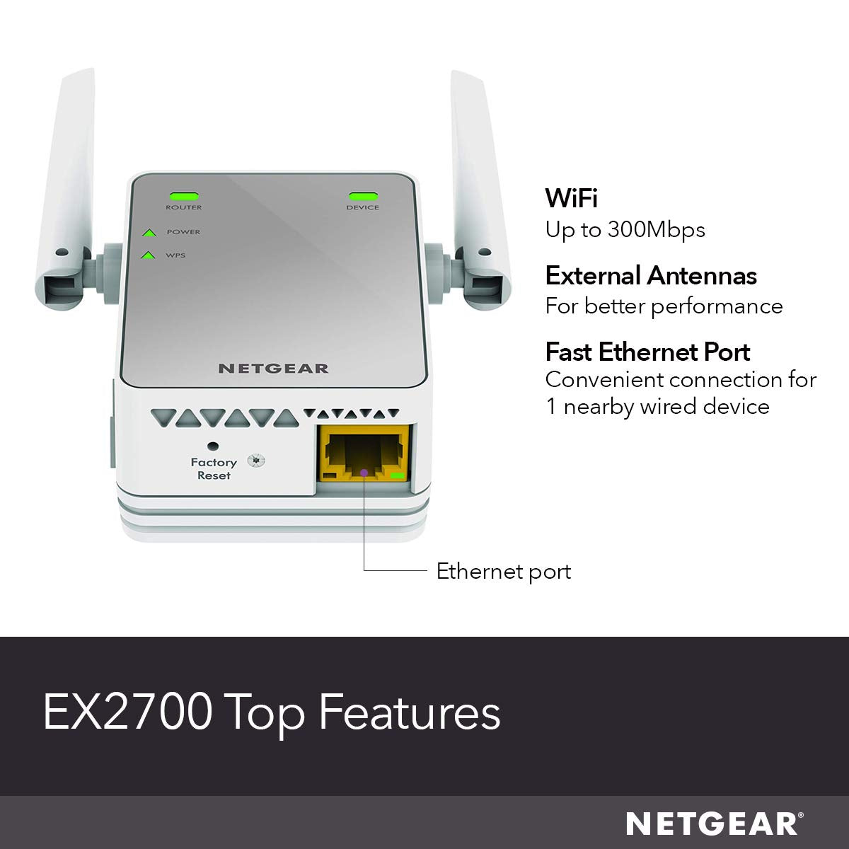 NETGEAR Wifi Range Extender EX3700 - Coverage Up to 1000 Sq.ft. and 15 devices with AC750 Dual Wireless Signal Booster & Repeater
