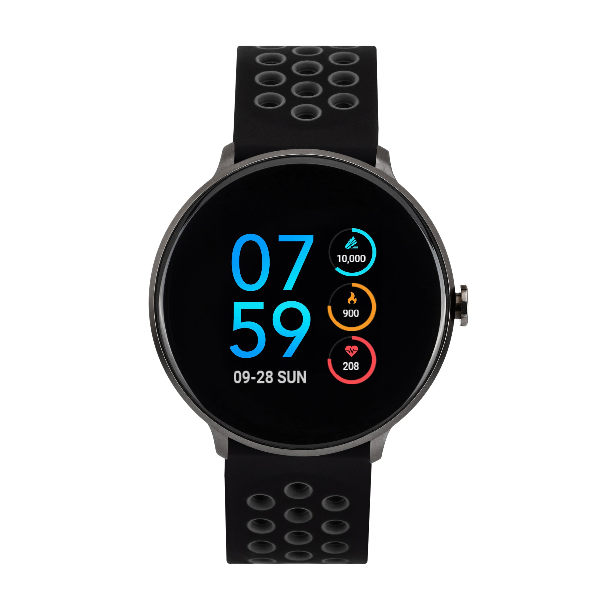 iTouch Sport Perforated Silicone Strap Smartwatch with Pedometer - Black/Grey/Black