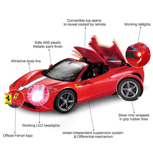 RASTAR RC Car | Radio Remote Control Car 1/14 Scale Ferrari 458 Special A, Model Toy Car for Kids, Auto Open & Close, Red