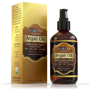 VoilaVe USDA and ECOCERT Pure Organic Moroccan Argan Oil for Skin, Nails & Hair Growth, Anti-Aging Face Moisturizer, Cold Pressed, Hair Moisturizer, Rich in Vitamin E & Carotenes, 4 fl oz