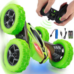 SIMILKY Remote Control Car, 4WD RC Stunt Car Rotate 360 Double Sided Race RC Car Maketheone Electric Stunt Rock Crawler Unstoppable RTR Buggy High Speed Rc Trucks (Green) (Green)