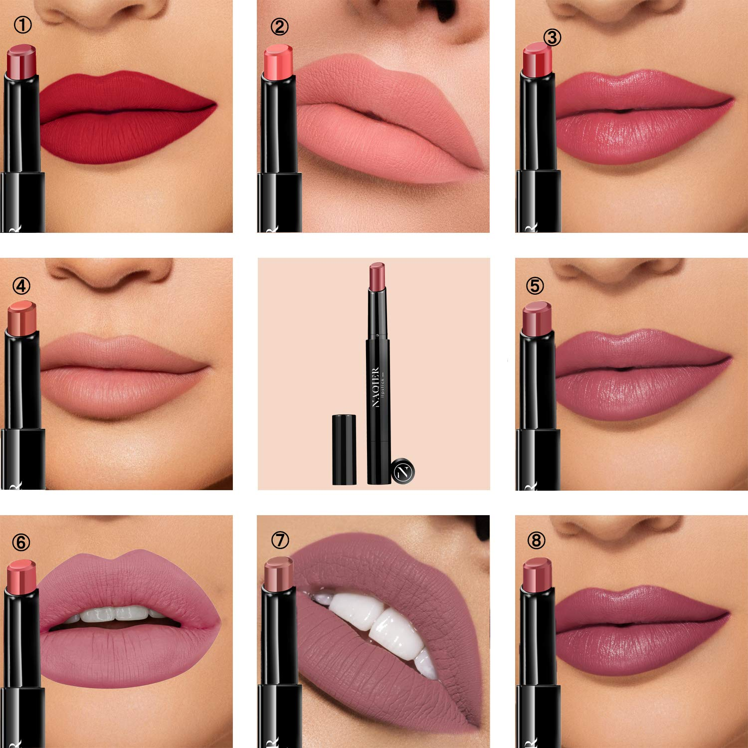 NAQIER Matte Lipstick Set, 8PCS Nude Moisturizer Smooth Lip Stick, Waterproof liquid lipstick mate Make up Velvet lip gloss Cosmetic