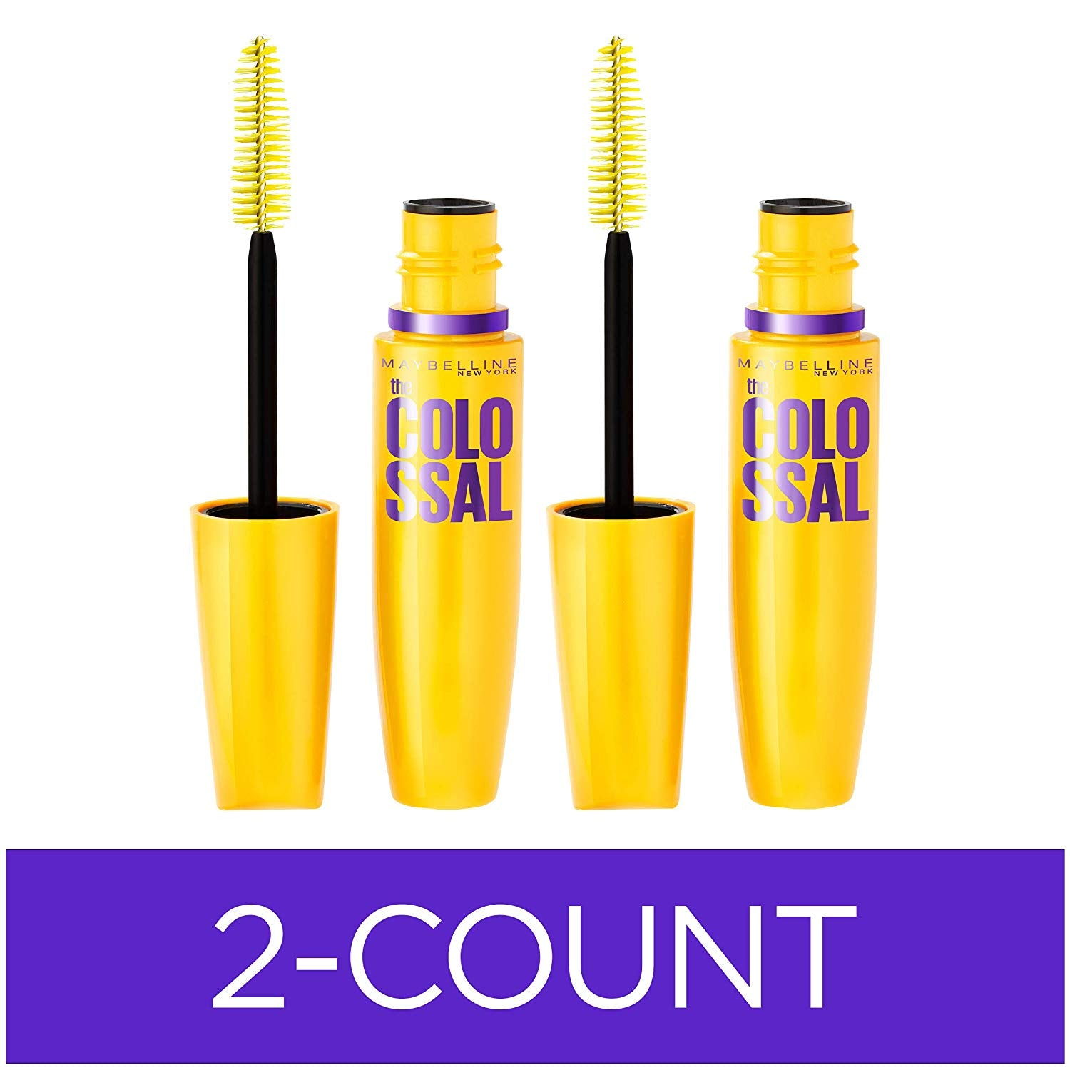 Maybelline Volum' Express The Colossal Washable Mascara, Volumizing, Glam Black