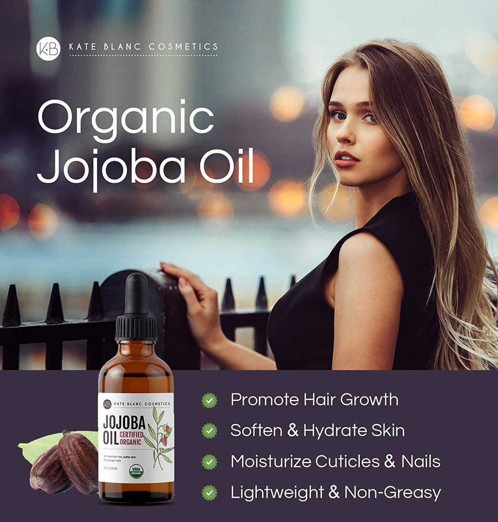 Jojoba Oil, USDA Certified Organic, 100% Pure, Cold Pressed, Unrefined. Revitalizes Hair & Gives Skin a Radiant Youthful Look. Effective Treatment for Face, Lips, Cuticles, Stretch Marks. (2 oz)