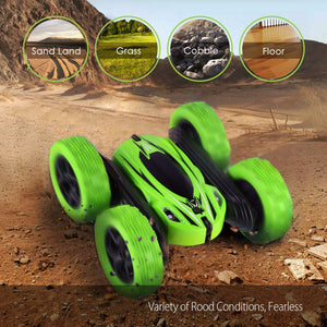 SIMILKY Remote Control Car, 4WD RC Stunt Car Rotate 360 Double Sided Race RC Car Maketheone Electric Stunt Rock Crawler Unstoppable RTR Buggy High Speed Rc Trucks (Green)