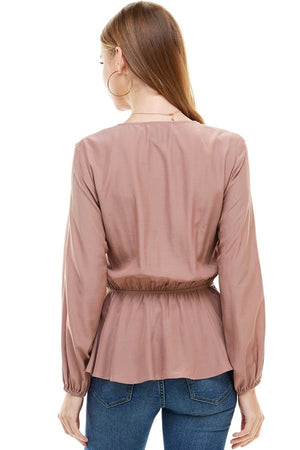 SURPLICE LACE TRIM INSET CINCHED WAIST LONG SLEEVE From United States