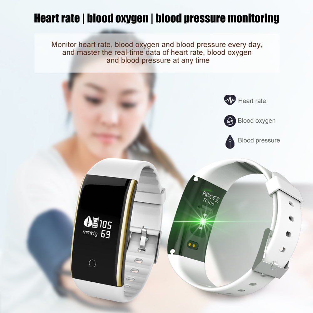 Fitness Tracker Smart Bracelet Bluetooth BP Heart Rate Monitor Sports Wristband