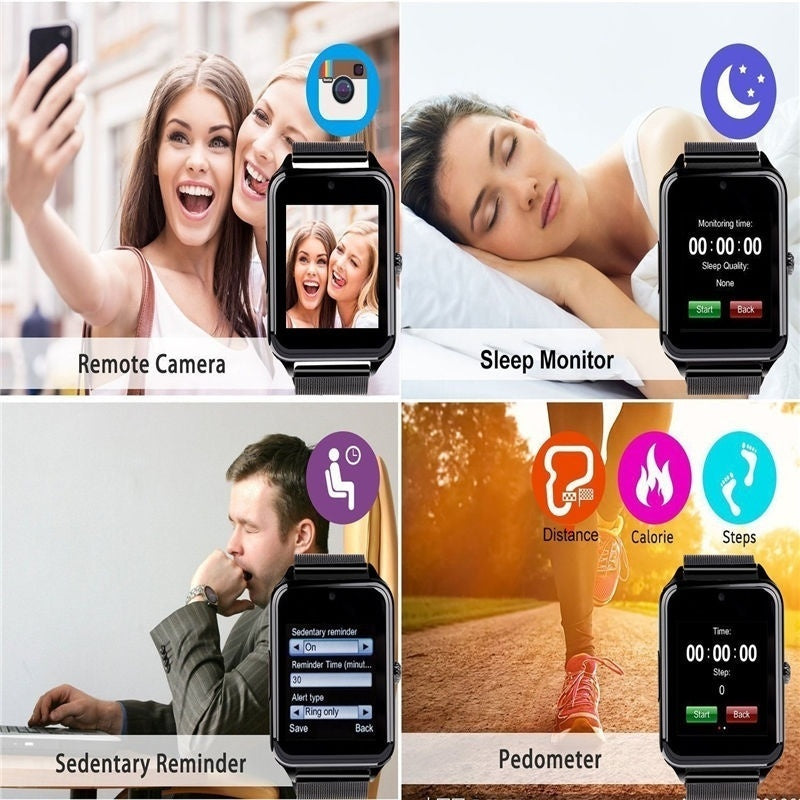 NEW Z60 PLUS Smart Watch Phone Pedometer Sedentary Remind Sleep Monitor Remote Camera compatible with Samsung,Xiaomi huaiwei,IPHONE. Android,ios Smartphones iPhone PK DZ09 GT08