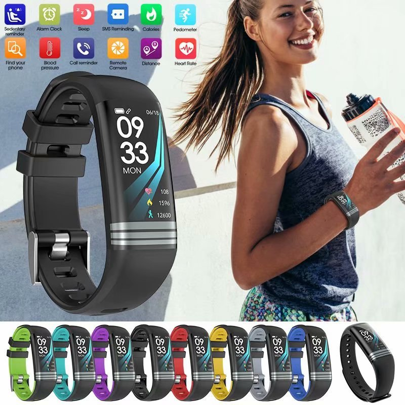 G26S Smart Bracelet Color Screen Smart Bracelet Fitness Tracker with Heart Rate Monitor Blood Pressure Step Calorie IP67 Waterproof Bluetooth Wristband Pedometer for iOS Android (All Black)