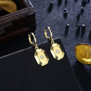 Octogon Swarovski Crystal Drop Earrings