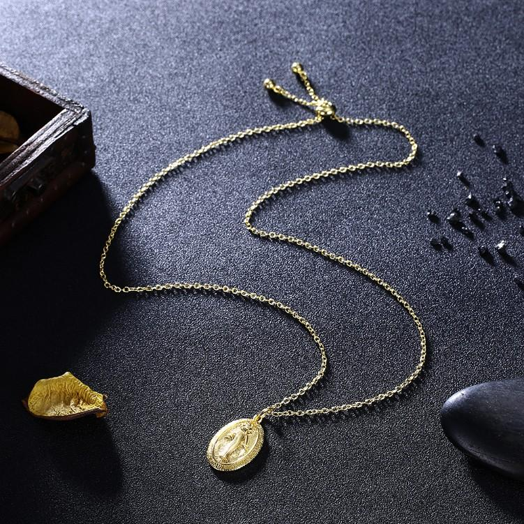 Lady Goddess Coin Necklace in 18K Gold Plated