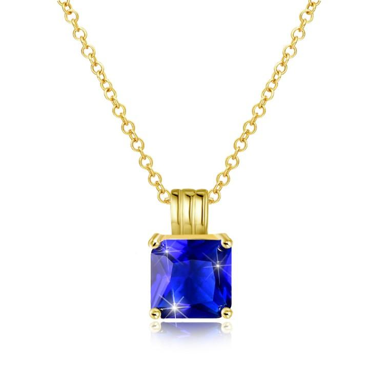 Swarovski Crystal Sapphire Sqaure Necklace in 18K Gold Plated