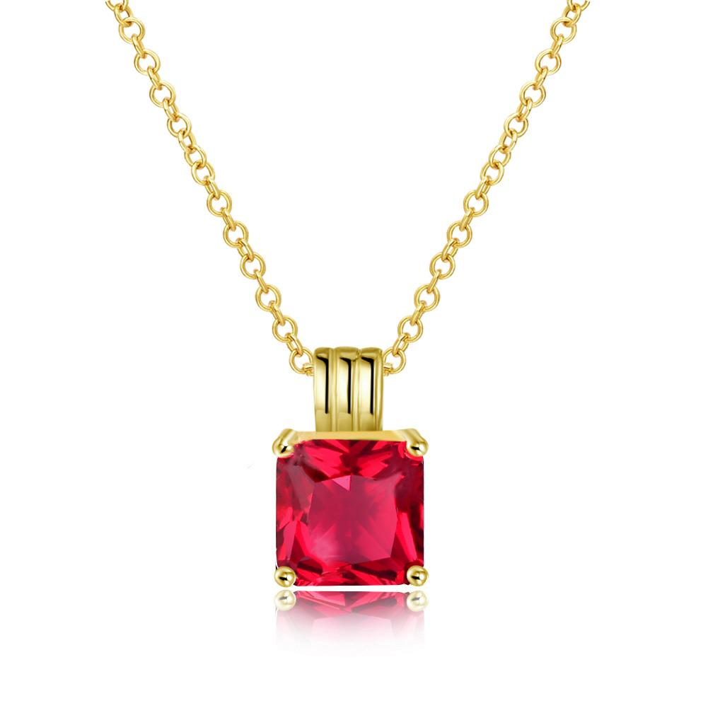 Ruby Princess Cut Classic Necklace in 14K Gold Gemstone