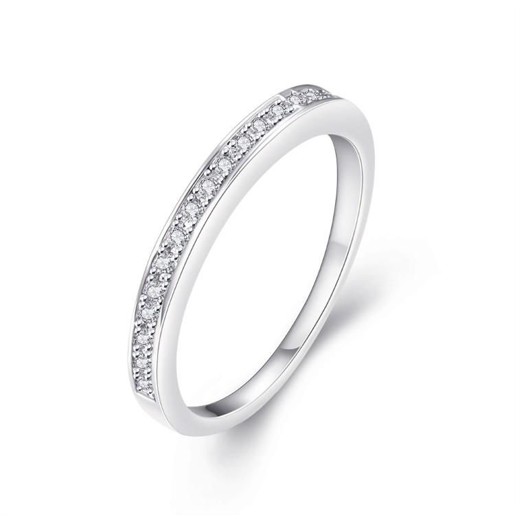 Classic Swarovski Crystal Wedding Band Ring Set in 18K White Gold Plated