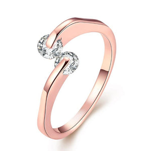 Together Forever Swarovski Crystal Ring Set in Rose Gold