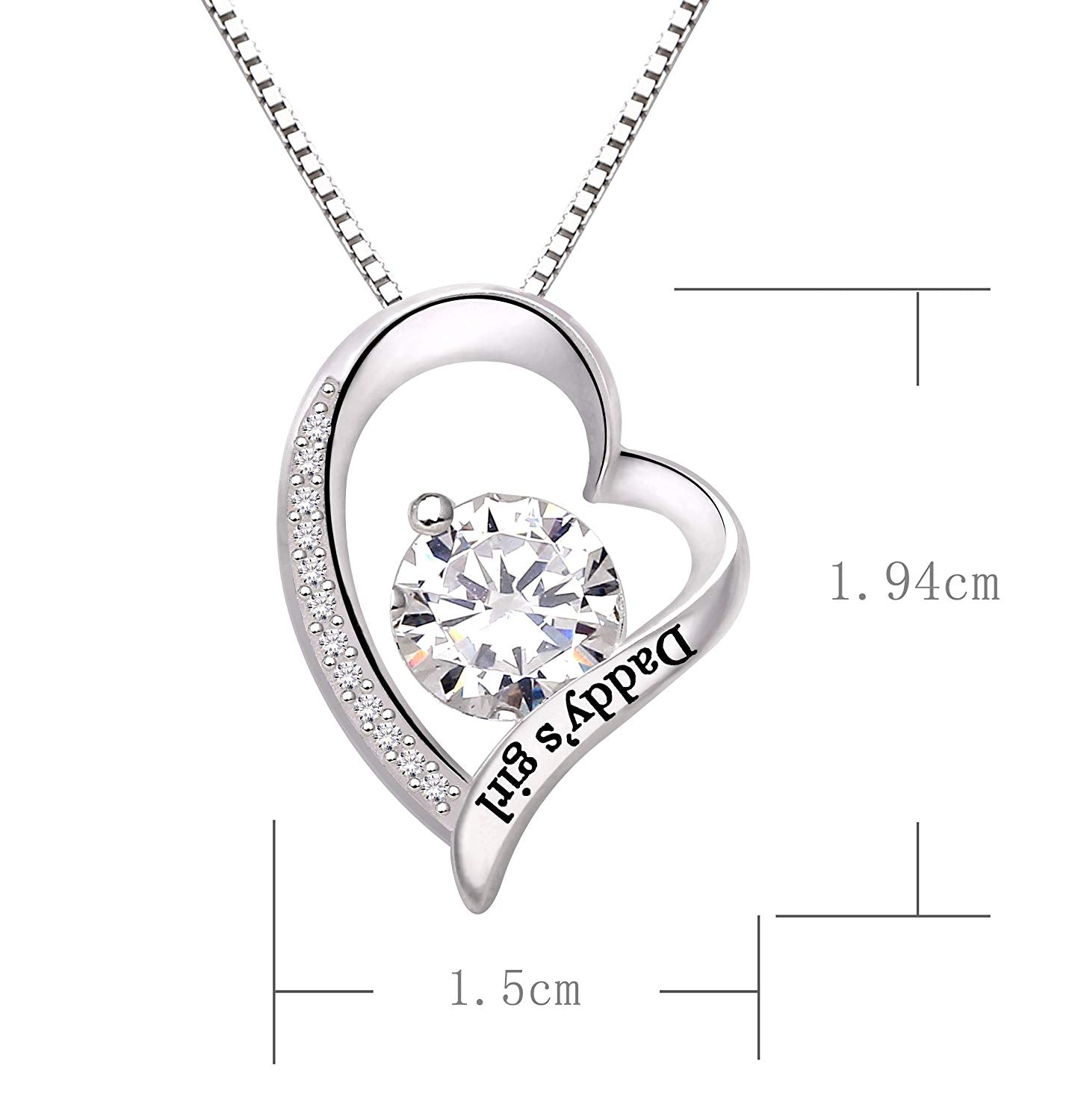 Swarovski Crystals Daddys Girl - Pave Heart  Necklace