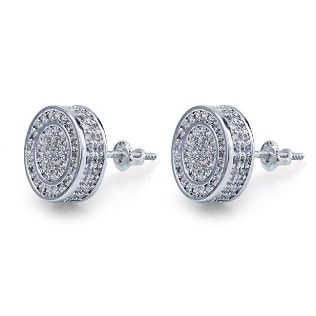 Pave Disc Stud Earring Embellished with Swarovski Crystals in 18K White Gold Plated