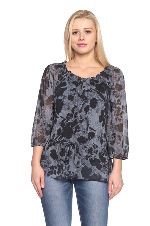 Women's Floral Printed Chiffon Button Front Top From United States