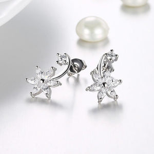 Swarovski Crystal Star Shaped Crawler Earrings Set in 18K White Gold