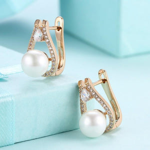 Swarovski Crystal Micro-Pav'e Pearl Leverback Earrings Set in 18K Gold