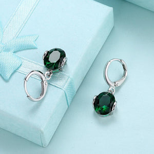 Simulated Emerald Dangling Leverback Earrings Set in 18K White Gold