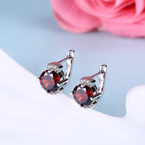 Simulated Ruby Pav'e Design Leverback Earrings Set in 18K White Gold