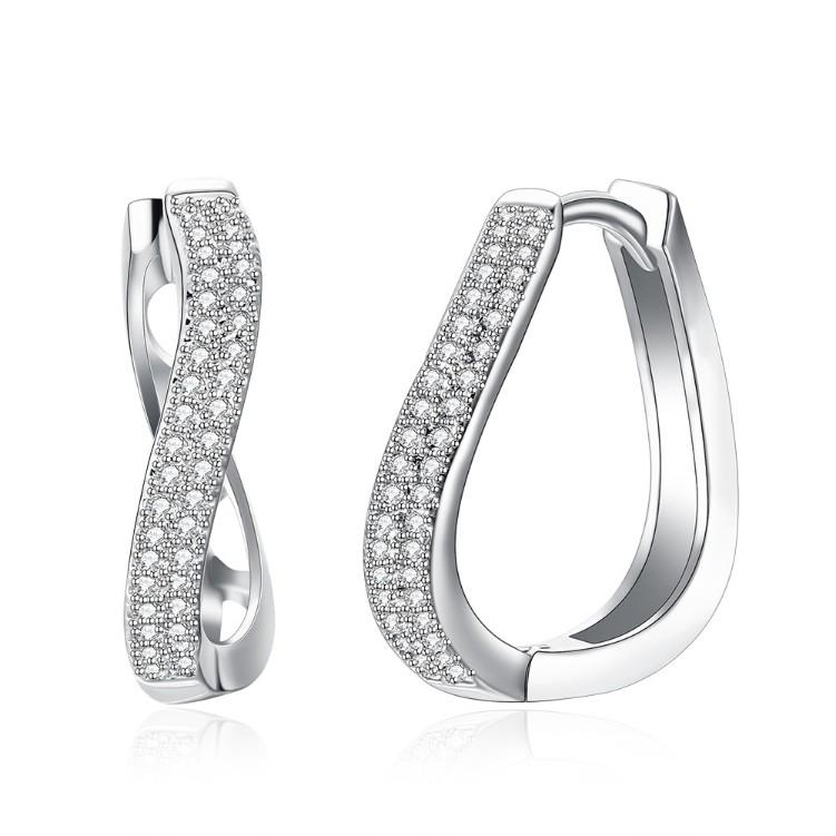 Swarovski Crystal Infinity Design Hoop Earrings Set in 18K White Gold