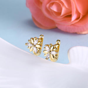 Swarovski Crystal Floral Shaped Leverback Earrings Set in 18K Gold