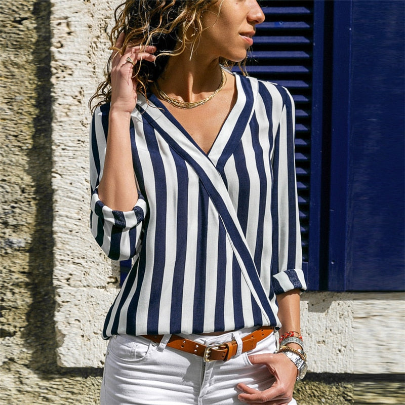 Women's Long Sleeve V-neck Casual Striped Blouse