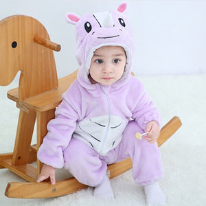 Cute Cartoon Flannel Baby Rompers
