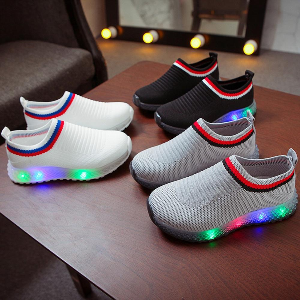 Children Mesh Led Luminous Sport Run Sneakers Casual Kids shoes
