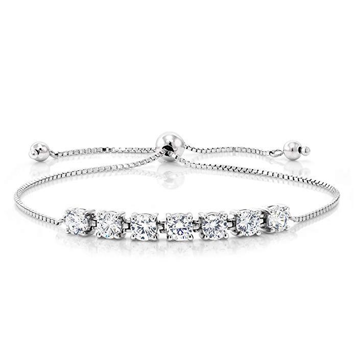 Seven Princess White Swarovski Elements Bracelet in 18K White Gold