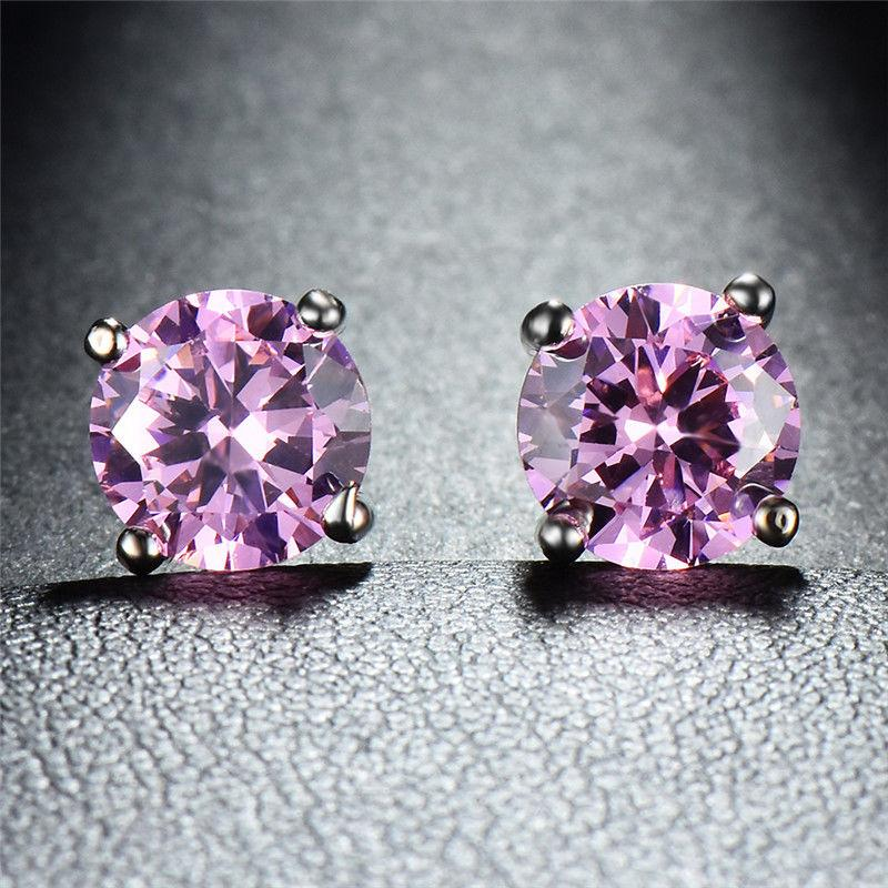 Pink Topaz Onyx Embellished with Swarovski Crystals 7mm Stud Earringin 18K White Gold Plated