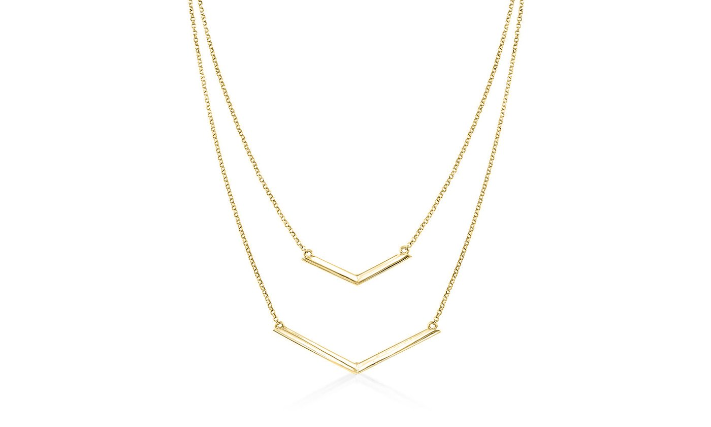 Duo Dangling Chevron Statement Necklace in 18K Gold (Multiple Options)