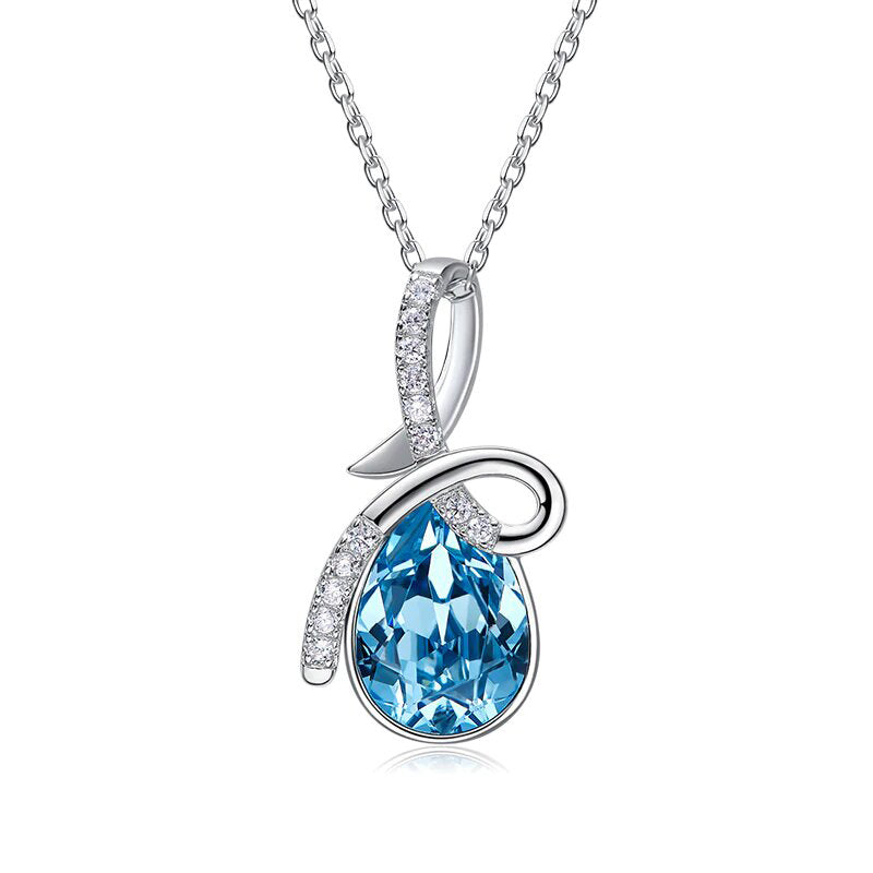 Swarovski Crystals Aquamarine Pear Cut Twist Pave  Necklace