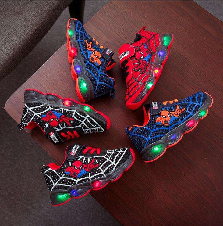Led luminous Spiderman Kids Shoes