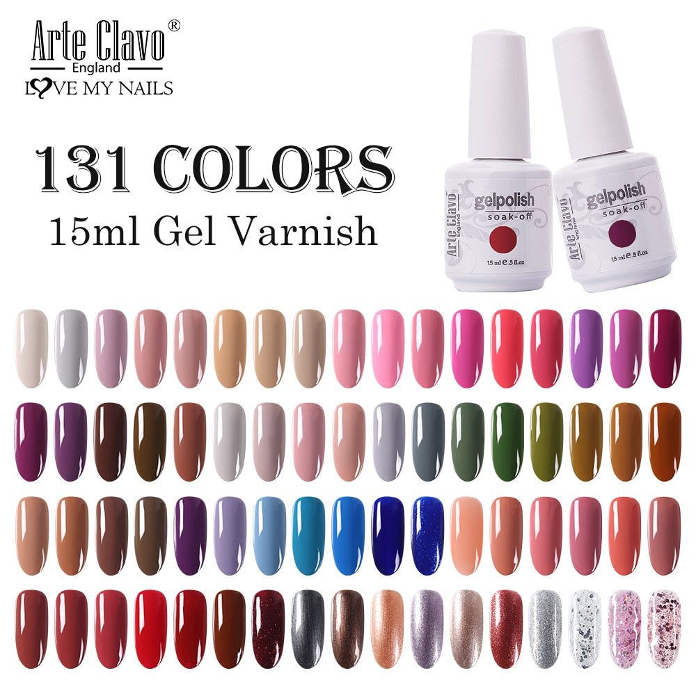 Arte Clavo 131 Colors Gel Polish Nail Gel Varnish Paint Semi Permanent Nails Art Gel Nail Polish For Manicure Top Coat Base Coat