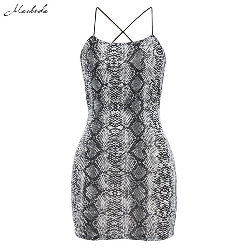 Macheda Sexy Cross Bandage Backless Bodycon