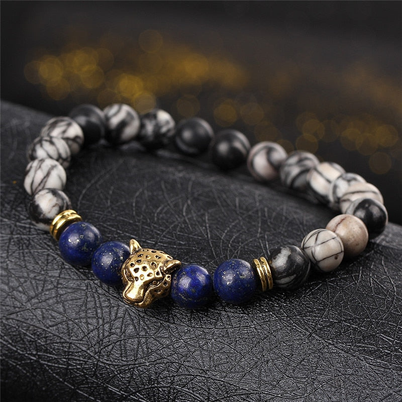 Leopard Head Beaded Bracelet For Men