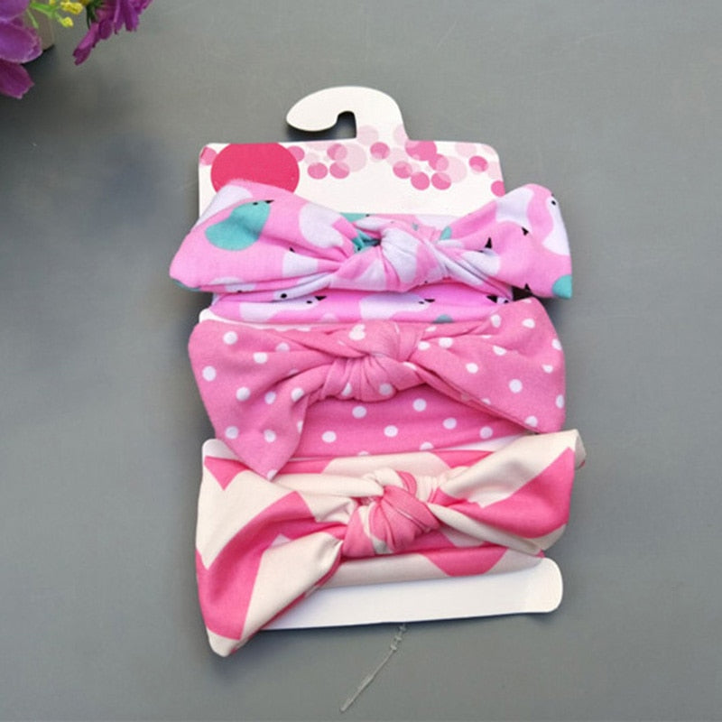 3 Pcs/Set Floral Bows Baby Headband
