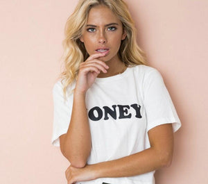 HONEY Red Letters Print  Cotton Casual Funny T Shirt f