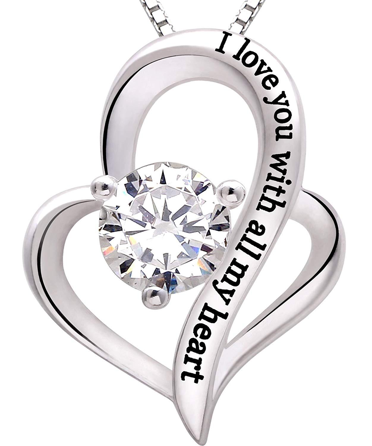 I Love you with all my heart Heart Necklace in 18K White Gold Plated