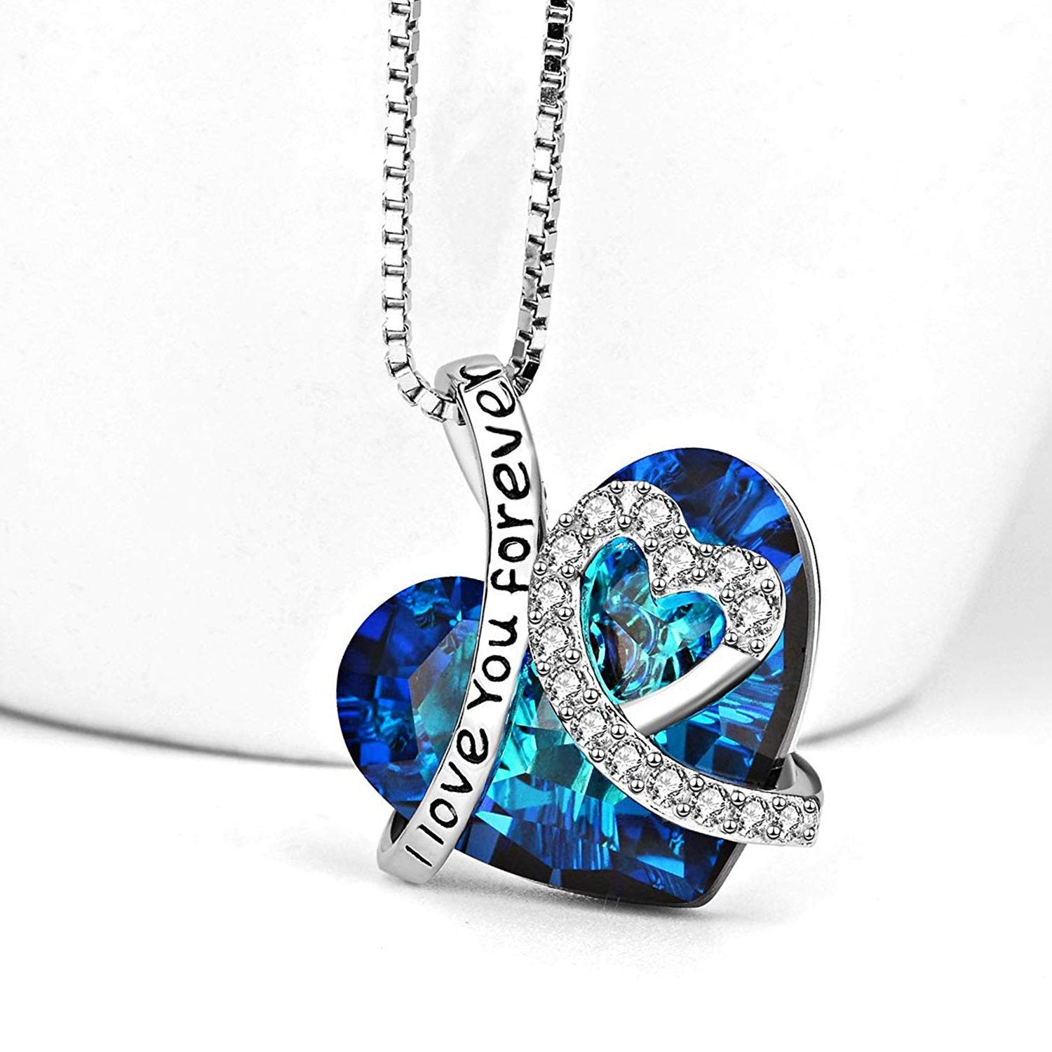 I LOVE YOU FOREVER Blue Swarovski Crystal Heart Necklace in 18K White Gold Plated